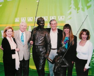 Emmett and daughters Terri Champney and Dixie Beroth (right and far right) with Andy and Cindi Griffith in Mount Airy for the TV Land Landmark dedication in 2004. Photo: TAGSRWC Archives. (Click the photo to enlarge it.)