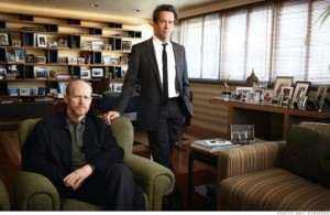 Ron Howard and Brian Grazer in Grazer's Beverly Hills office. Here's a link to an online story in Fortune about their segue into advertising.