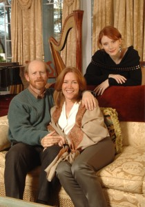 Ron and Cheryl Howard with daughter Bryce in a photo to promote the release of Cheryl's novel as an audio edition.