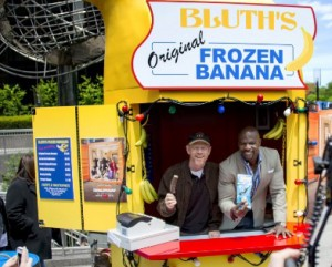 "Ron Howard and actor Terry Crews promote ""Arrested Development"" in the iconic Frozen Banana Stand on the streets of New York in May."
