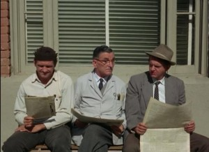 "Arthur Malet as Purvis, pondering on a bench with Goober and Floyd  in ""The Battle of Mayberry."""