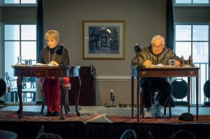 With snow out yonder windows, Maggie Peterson and Ronnie Schell rehearse Love Letters in Mount Airy.  Photo by Hobart Jones.