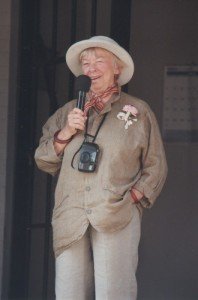 Mary Grace (properly adorned) speaking to the crowd at the Mayberry Squad Car Rendezvous in Bradford, Ohio, during the summer of 1997.