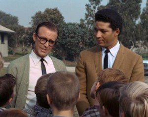 "Richard Bull (left) as Mr. Jackson, introducing Flip Conroy (Rockne Tarkington) to Opie and his pals in ""Opie's Piano Lesson."""