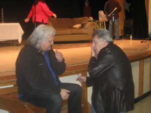Rodney Dillard (right) visits with fellow bluegrass legend Ricky Skaggs following a performance of the Mayberry Christmas show in Mount Juliet, Tenn.