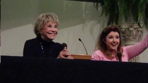 CHEERY PAIR--Maggie Peterson and Morgan Brittany are all smiles during their panel discussion about TAGS at the Missouri Cherry Blossom Festival. Photo courtesy of Nicholas Inman.