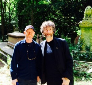 """WE WANT A GHOST STORY!""–Ron Howard tweeted this photo of himself with writer Neil Graiman, touring graveyards in London earlier this month."