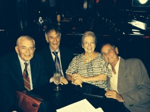 FINE TROUPE--Comedy was in store when this group of old friends gathered in September.  Pictured (l-r) are Ken Berry, Larry Storch, Jackie Joseph and David Lawrence.  Photo courtesy of Jackie Joseph.