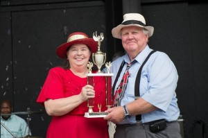 RED AHEAD--Mayberry Days Trivia Contest Proctor Kenneth Junkin presents the 2014 trophy to Pat Bullins (again!)  Photo by Hobart Jones.