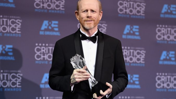 Ron with his Genius award at this month's Critics' Choice Movie Awards.Ron with his Genius award at last month's Critics' Choice Movie Awards.