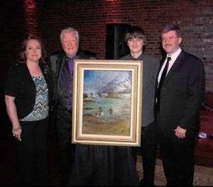 "SHREWD CREW--Jan and Allan Newsome (far left and far right) with son Adam and James Best and the beautiful painting that James donated (and the Newsomes won) at the charity silent auction at the gala premiere of ""Return of the Killer Shrews"" in Bristol, Tenn., in 2012."