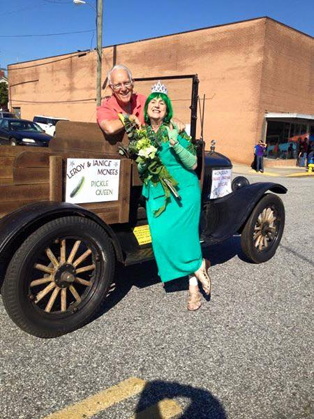 FINE BRINE--Special guest star LeRoy McNees and wife Jan (aka HRH Pickle Queen) are ready for the parade at the 5th Annual Mayberry Comes to Westminster (S.C.) festival in May.