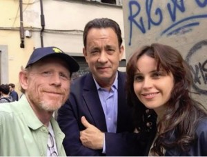 "Ron with ""Inferno"" stars Tom Hanks and Felicity Jones on location in Florence, Italy in May."