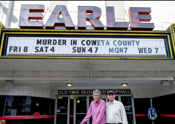 CRIME SEEN--Director Gary Nelson (left) and producer Dick Atkins in Mount Airy on July 19 for the screening of their 1983 hit TV movie starring Andy Griffith and Johnny Cash. The two were also made stops for screenings in Georgia and Nashville, Tenn. Photo by Hobart Jones.