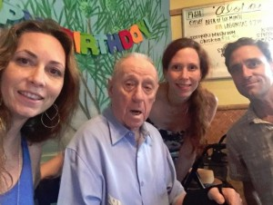 TIME TO CELEBRATE 98--Richard O. Linke with daughters Katharine and Bettina and son Dick Jr. at his 98th birthday party on Oct. 23.