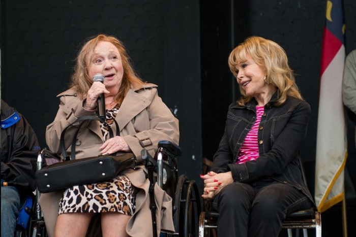 TWO MAYBERRY FAVORITES...HANDS DOWN!--Betty Lynn and Barbara Eden at the Mayberry Days Proclamation ceremony. Photo by Hobart Jones.