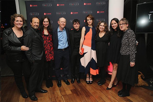 """Ron Howard poses with cast members Josh Hutcherson and Jena Malone (both to Ron's immediate left) and execs and members of the short film """"The Rusted"""" at the New York City premiere on October 22. The film was part of Canon's Project Imagination, which encourages aspiring filmmakers from the general public (aka """"consumer filmmakers"""") and is a program with Ron has been actively involved since its inception a few years ago."""