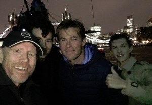 Ron Howard tweeted this selfie of himself with In the Heart of the Sea stars Ben Walker, Chris Hemsworth and Tom Holland in London on December 2. Follow Ron on Twitter @RealRonHoward.