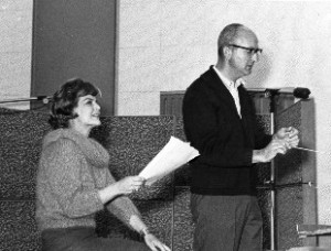 ACROSS THE YEARS--Marjorie Lord and Earle Hagen working on her narration and his orchestration for their 1962 album Claudia's Letter: The Authentic Letter Written by the Wife of Pontius Pilate.