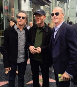 HOLLYWOOD STARS TREK--Ron is flanked by Brian Grazer and Michael Keaton at his Hollywood Walk of Fame ceremony.