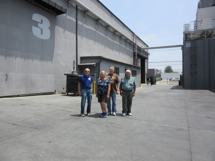 SETTING...THE STAGE FOR MAYBERRY--Bruce Bilson (far left) In June with members of TAGSRWC's Mayberry chapter during ultra-rare access to the studio home of the soundstage where TAGS was filmed. The visit was made extra-special by having a guided tour by someone with Bruce's extensive first-hand knowledge of TAGS filming, as well as details about the lot, its soundstages, and their histories.