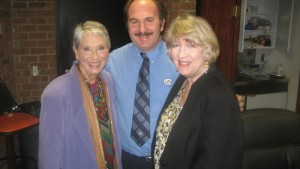VISIBLE GLEE--Elinor poses with John and Mary Tuley following her final performance of Harvey in Pinehurst. That's Harvey standing behind the trio. You do see him, don't you?)